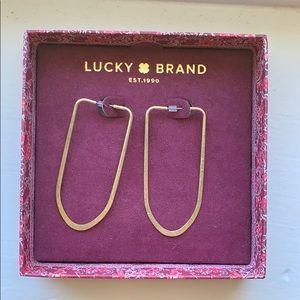 Lucky Brand gold oblong hoop earrings NWT
